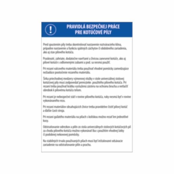 Pravidlá bezpečnej práce pre kotúčové píly