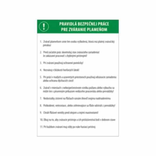 Pravidlá bezpečnej práce pre zváranie plameňom