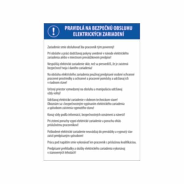 Pravidlá na obsluhu elektrických zariadení