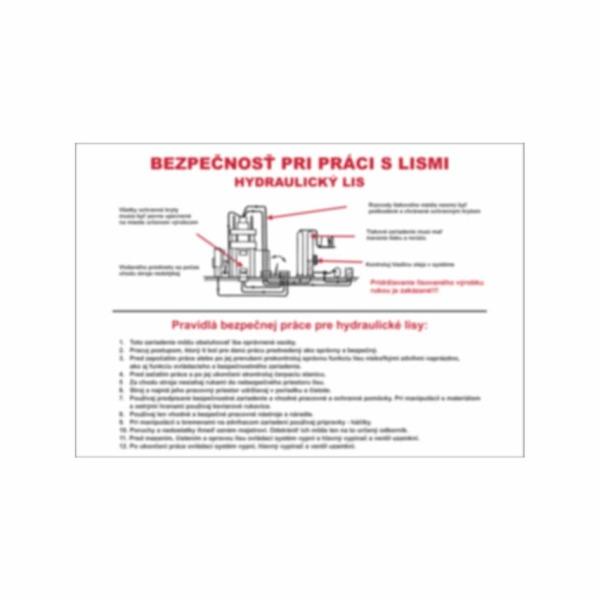 Pravidlá bezpečnej práce na hydraulickom lise