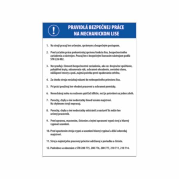 Pravidlá bezpečnej práce na mechanickom lise