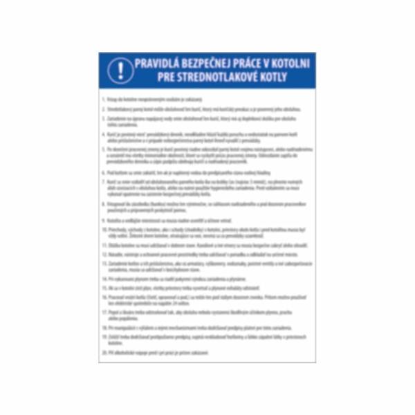 Pravidlá bezpečnej práce pre strednotlakové kotle