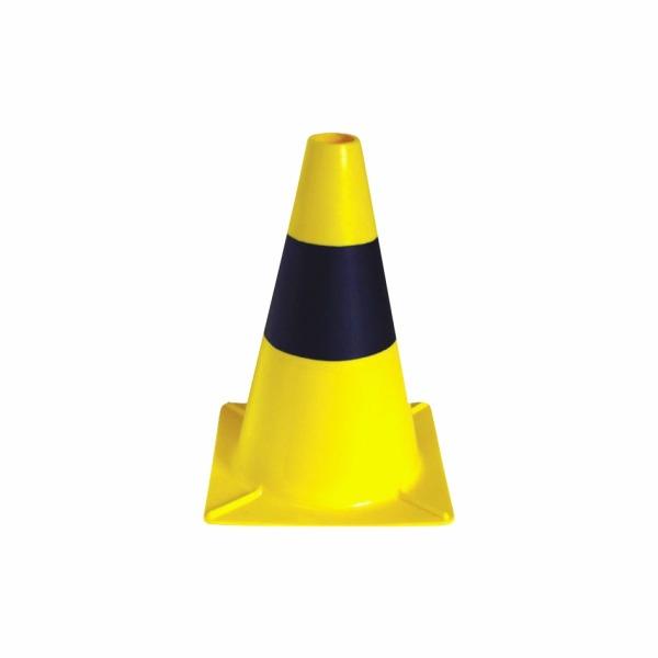 506 - Ľahký plastový kužeľ - žltý s pruhom