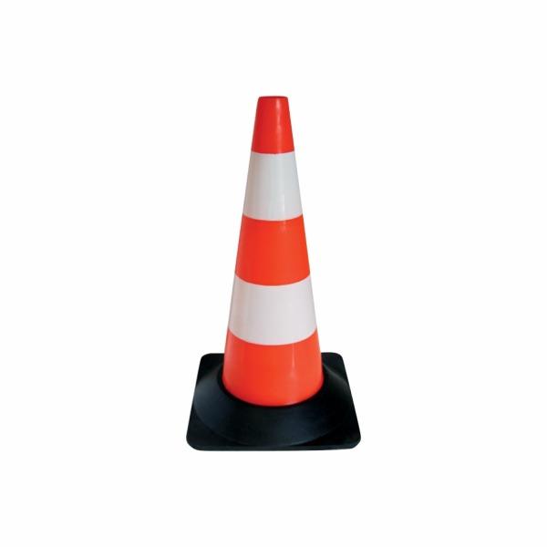 507 - Dopravný kužeľ - oranžový s bielymi pruhmi
