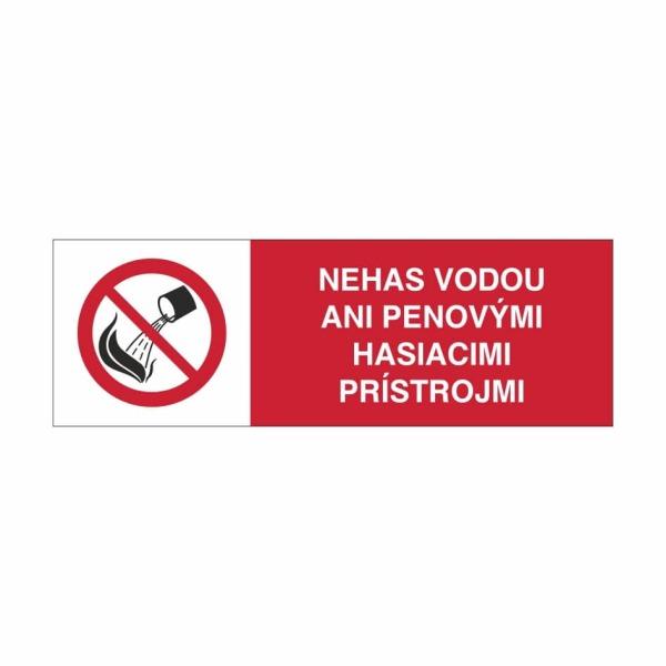 06 - Nehas vodou ani penovými hasiacimi prístrojmi - elektrotechnická značka