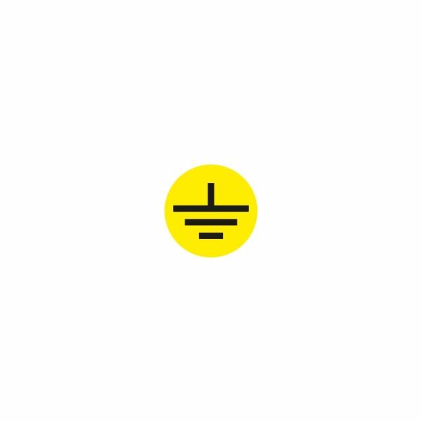 08 - uzemnenie žlto čierne - označovacia elektrotechnická značka