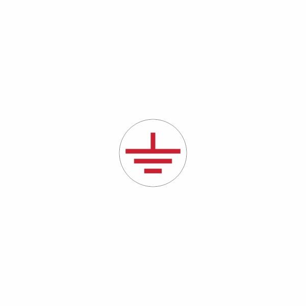 08 - uzemnenie bielo červené - označovacia elektrotechnická značka