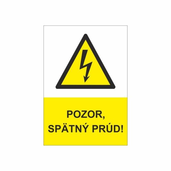 47 Pozor spätný prúd - zvislá označovacia elektrotechnická značka