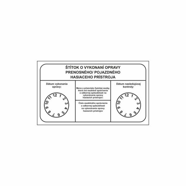 R003 - Revízny štítok o vykonaní opravy hasiaceho prístroja