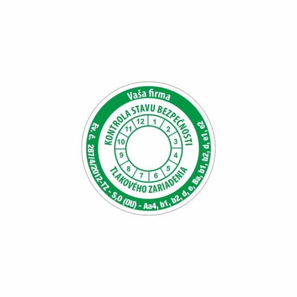 R010 - Štítok o vykonaní kontroly stavu bezpečnosti tlakového zariadenia